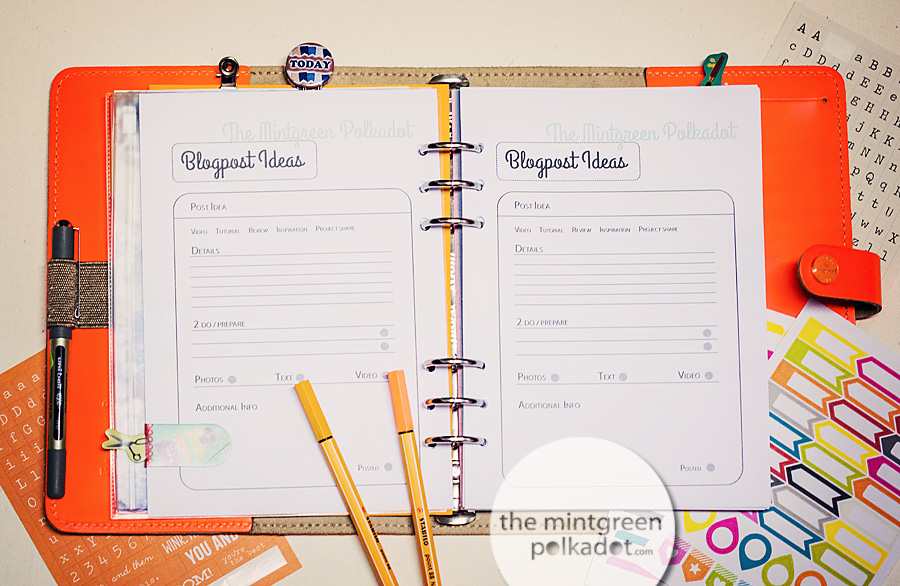 Planner Pages for organizing your Life as a Blogger and Social Media - free Download
