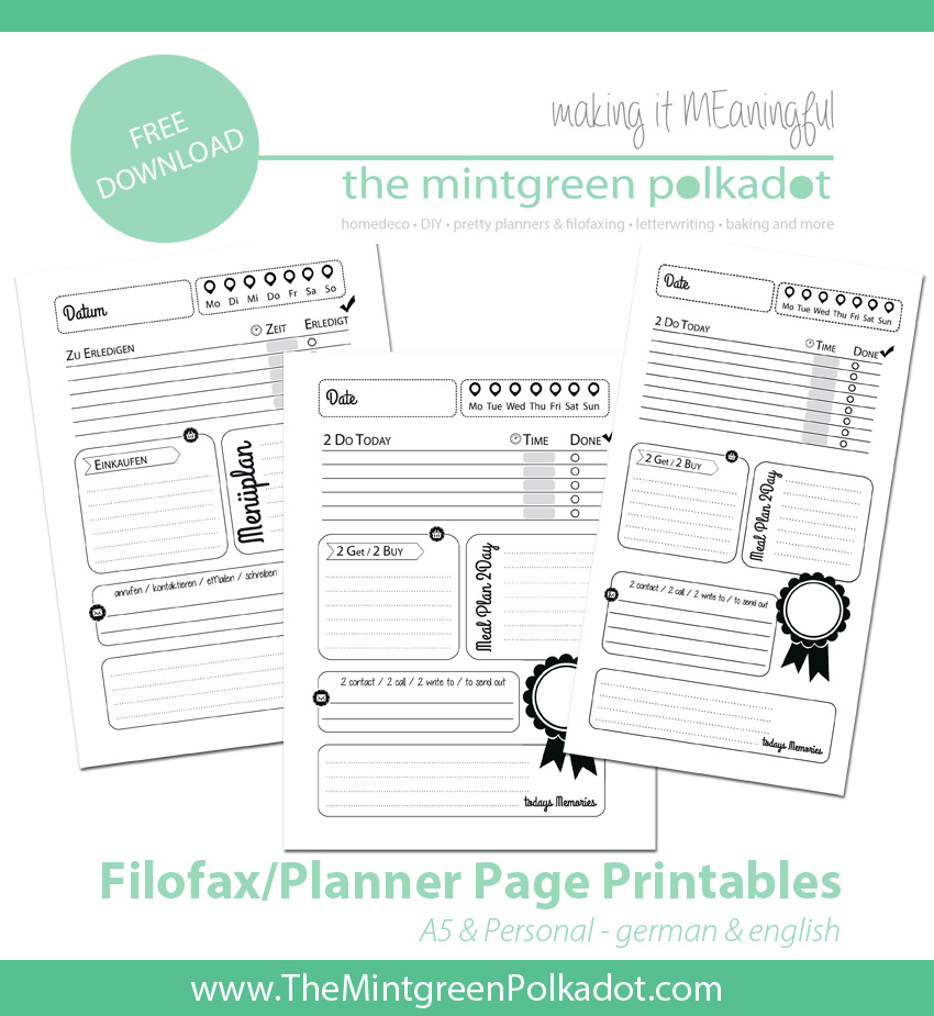 filofax free printable planner pages day on one page A5 personal