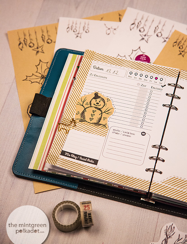 free printable filofax planner christmas december daily